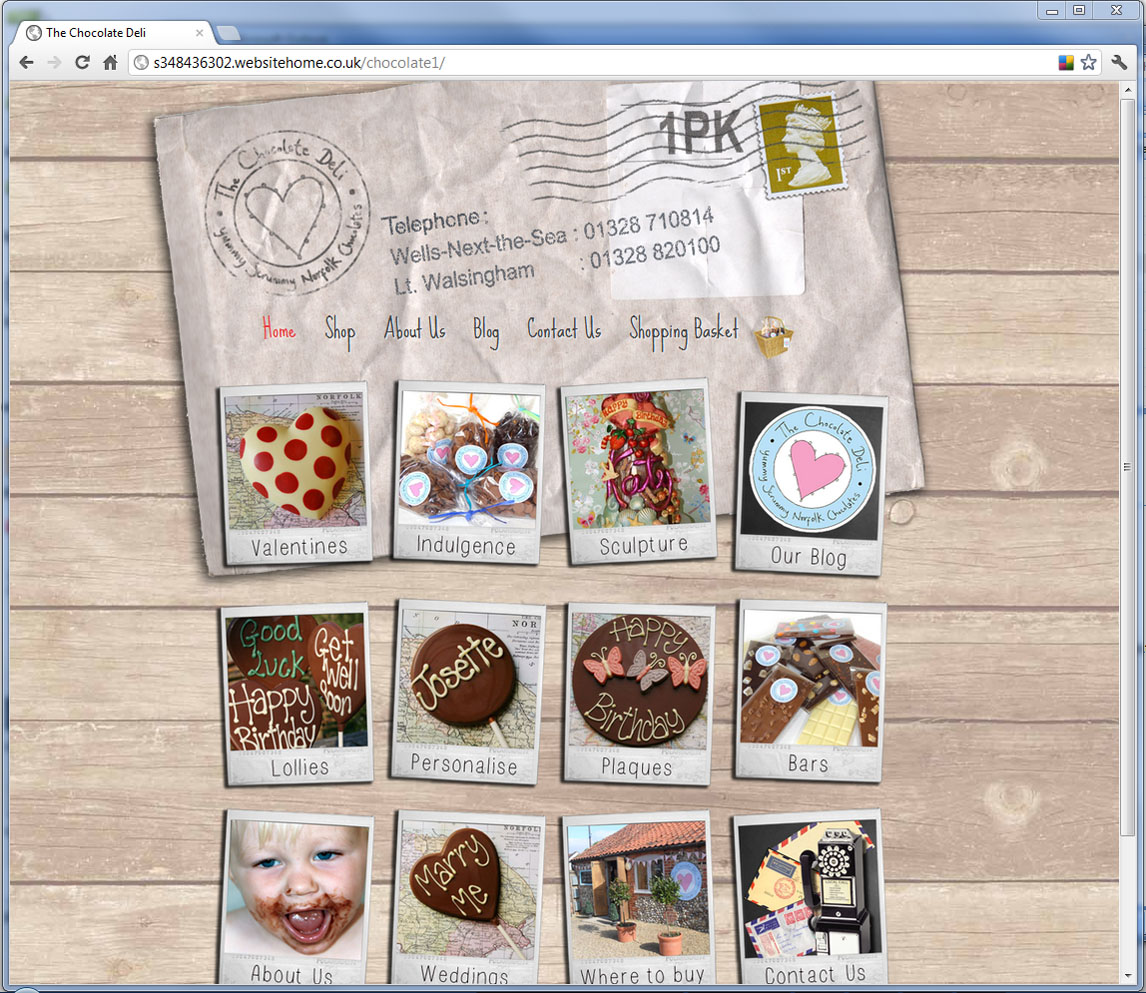 The Chocolate Deli, Website Design, Norfolk and Kings Lynn
